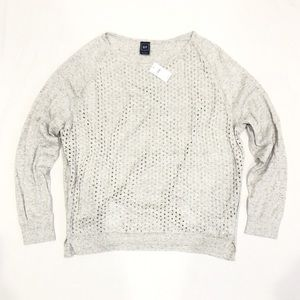 GAP Eyelet Front Light Heather Grey Sweater Size L